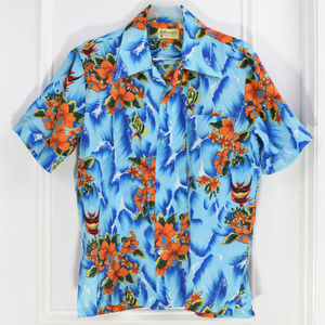 Vintage Hawaiian Luau Shirt Men Large Fish Waves